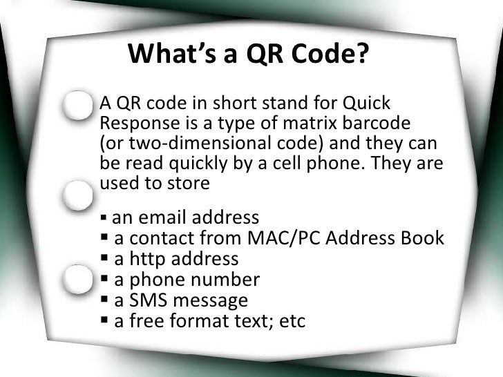 What's a QR Code?<br />A QR code in short stand for Quick Response is a type of matrix barcode      (or two-dimensional co...