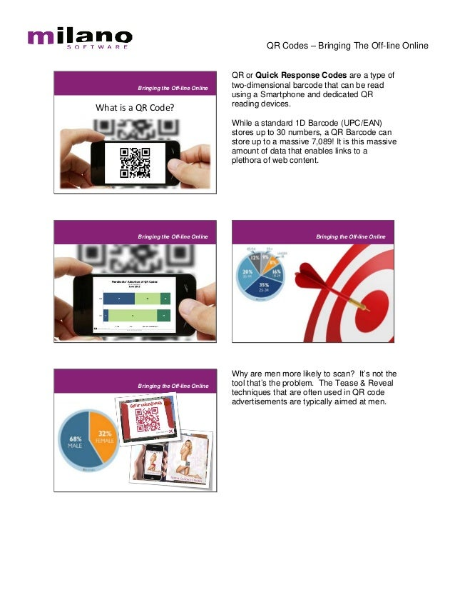 QR Codes – Bringing The Off-line Online                                        QR or Quick Response Codes are a type of   ...