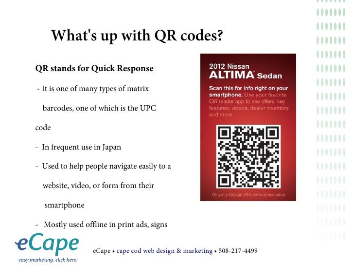 Whats up with QR codes?QR stands for Quick Response- It is one of many types of matrix  barcodes, one of which is the UPCc...