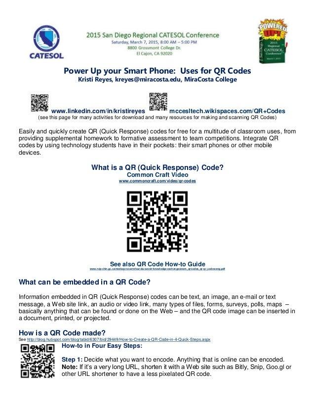 Qr Codes in ESL - Poster Presentation