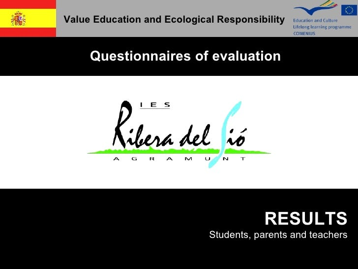 Value Education and Ecological Responsibility Questionnaires of evaluation RESULTS Students, parents and teachers