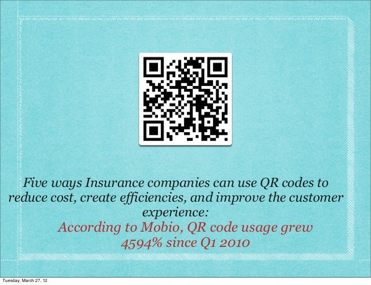 Five ways Insurance companies can use QR codes to  reduce cost, create efficiencies, and improve the customer             ...