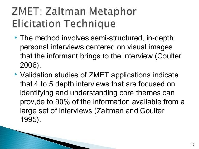  The method involves semi-structured, in-depth personal interviews centered on visual images that the informant brings to...