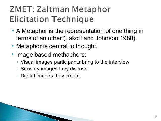 A Metaphor is the representation of one thing in terms of an other (Lakoff and Johnson 1980).  Metaphor is central to t...