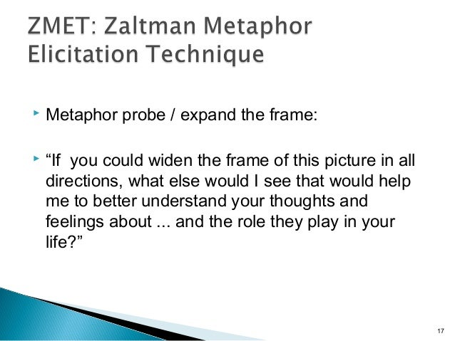 """ Metaphor probe / expand the frame:  """"If you could widen the frame of this picture in all directions, what else would I ..."""