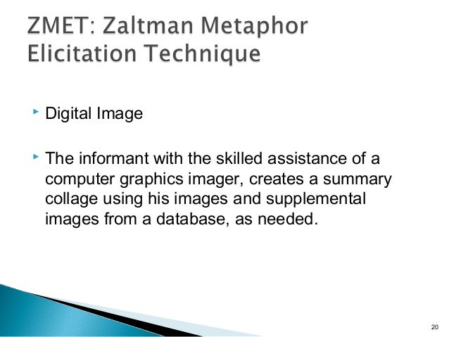  Digital Image  The informant with the skilled assistance of a computer graphics imager, creates a summary collage using...