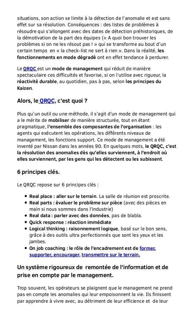 Boubaddara Youssef: QRQC-un mode de management qui permet une réactivité durable Slide 2