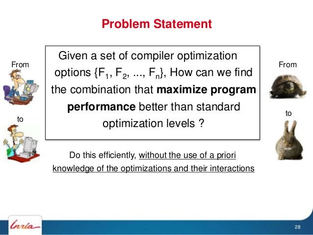 Given a set of compiler optimization options {F1, F2, ..., Fn}, How can we find the combination that maximize program perf...