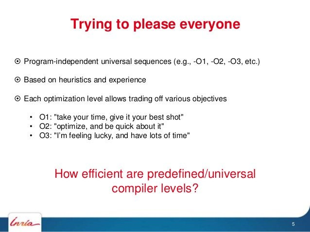 Trying to please everyone 5  Program-independent universal sequences (e.g., -O1, -O2, -O3, etc.)  Based on heuristics an...