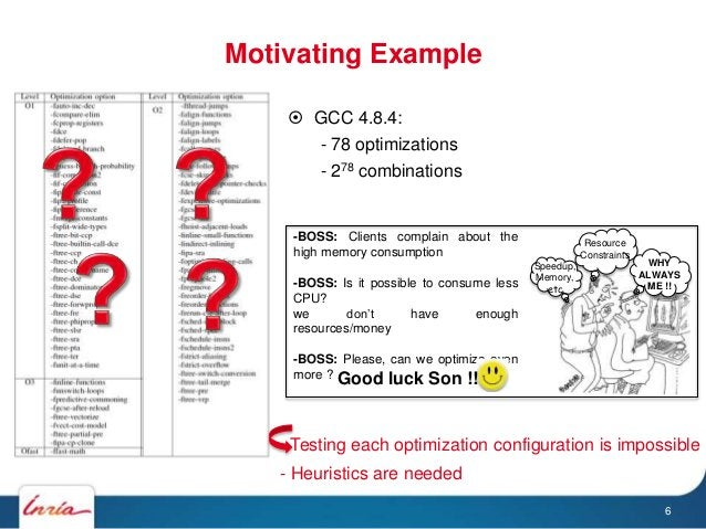 Motivating Example  GCC 4.8.4: - 78 optimizations - 278 combinations 6 Speedup, Memory, etc. Resource Constraints WHY ALW...