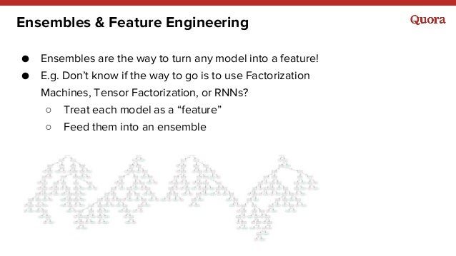 Ensembles & Feature Engineering ● Ensembles are the way to turn any model into a feature! ● E.g. Don't know if the way to ...