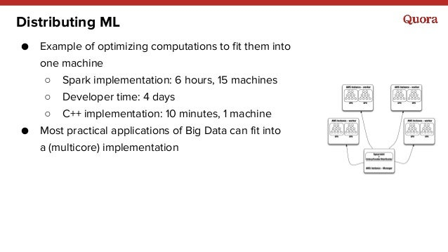 Distributing ML ● Example of optimizing computations to fit them into one machine ○ Spark implementation: 6 hours, 15 mach...