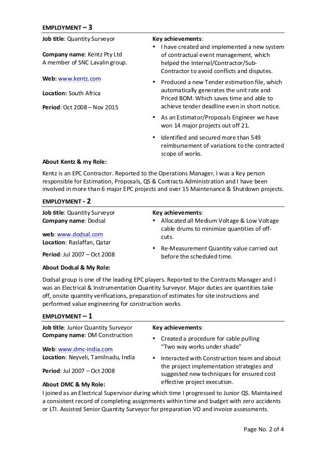 quantity surveyor cv template