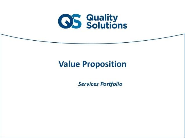 Sottotitolo Quality Solutions di due righe o massimo tre come da esempio Value Proposition Services Portfolio