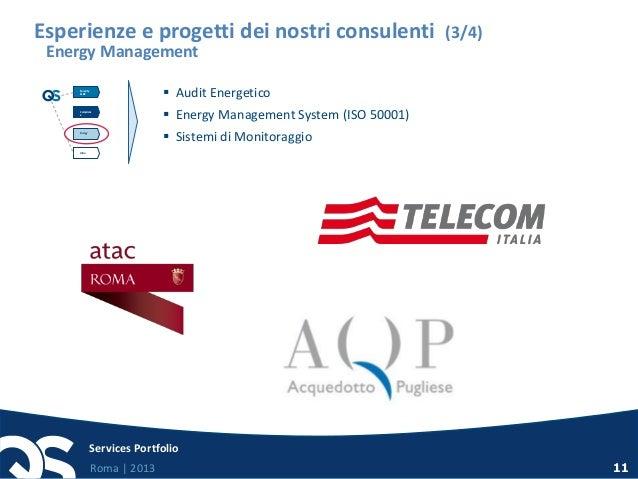 Roma   2013 Services Portfolio 11 Esperienze e progetti dei nostri consulenti (3/4) Energy Management  Audit Energetico ...