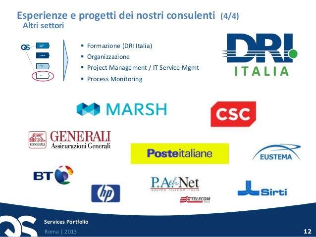 Roma   2013 Services Portfolio 12  Formazione (DRI Italia)  Organizzazione  Project Management / IT Service Mgmt  Proc...