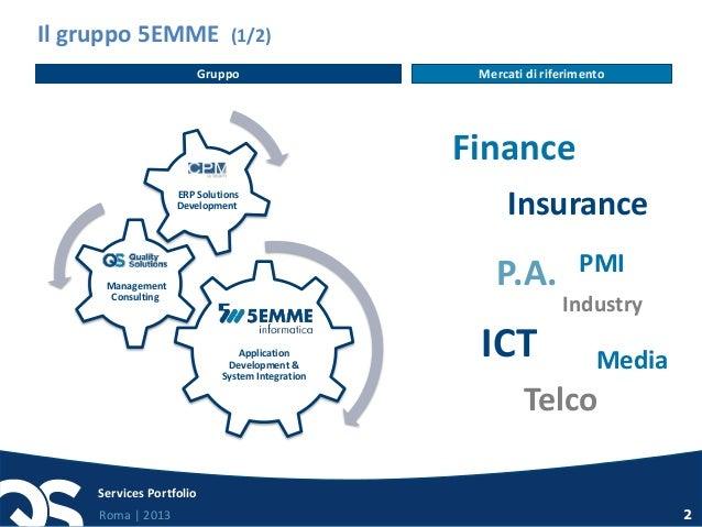 Roma   2013 Services Portfolio 2 Il gruppo 5EMME (1/2) P.A. Insurance Finance Industry Telco ICTApplication Development & ...