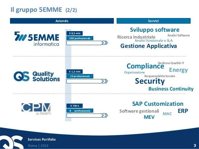 Roma   2013 Services Portfolio 3 Security Compliance EnergyOrganizzazione Business Continuity Gestione Qualità IT Responsa...