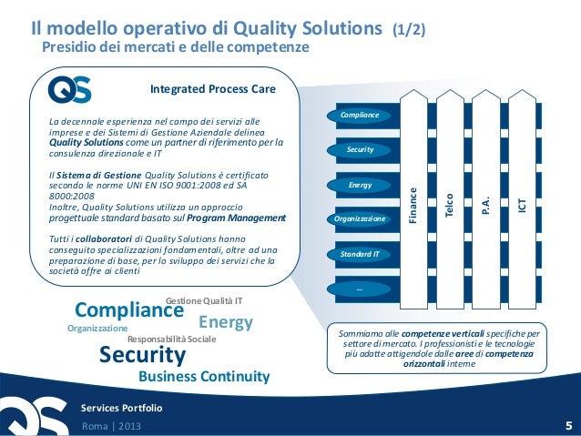 Roma   2013 Services Portfolio 5 Il modello operativo di Quality Solutions (1/2) Presidio dei mercati e delle competenze L...