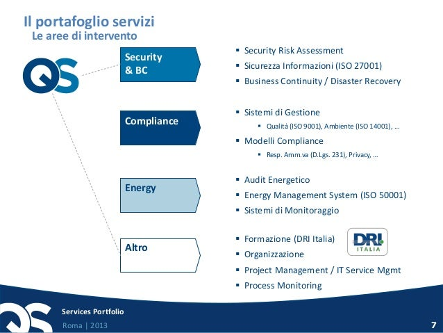 Roma   2013 Services Portfolio 7 Security & BC  Security Risk Assessment  Sicurezza Informazioni (ISO 27001)  Business ...