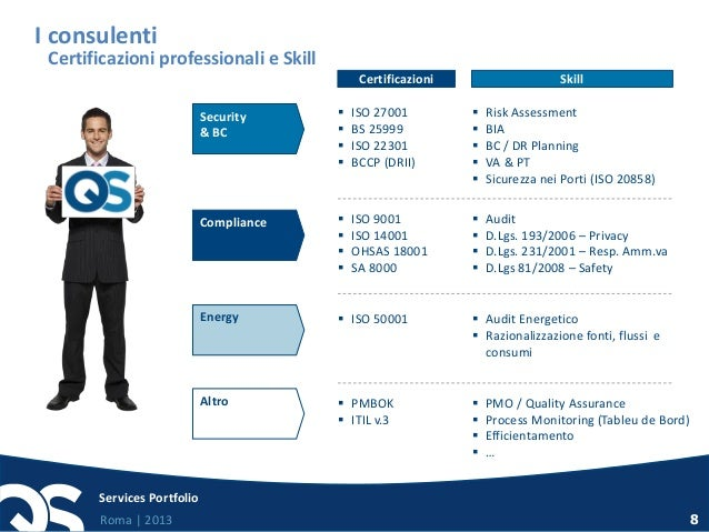 Roma   2013 Services Portfolio 8 Security & BC  ISO 27001  BS 25999  ISO 22301  BCCP (DRII)  Risk Assessment  BIA  ...