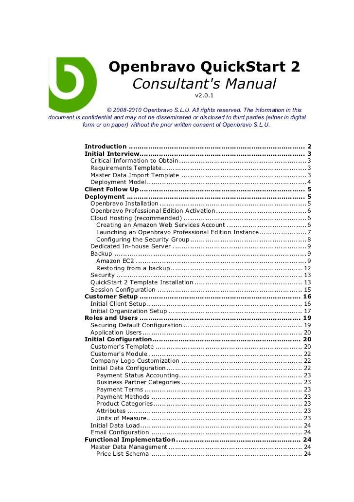 Openbravo QuickStart 2                          Consultants Manual                                                        ...