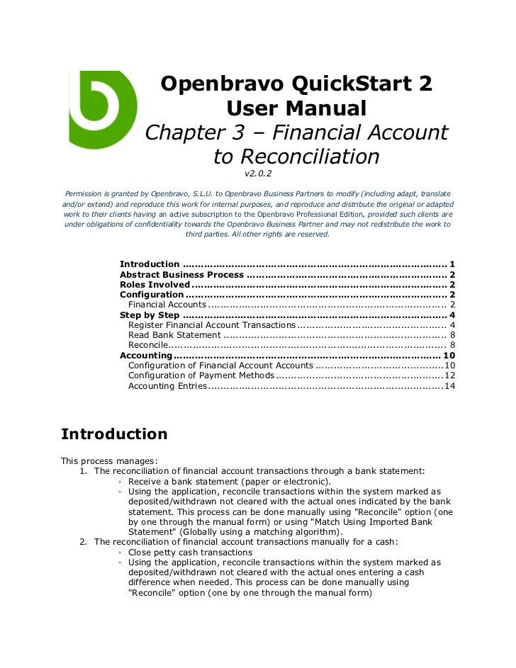 Openbravo QuickStart 2                               User Manual                        Chapter 3 – Financial Account     ...