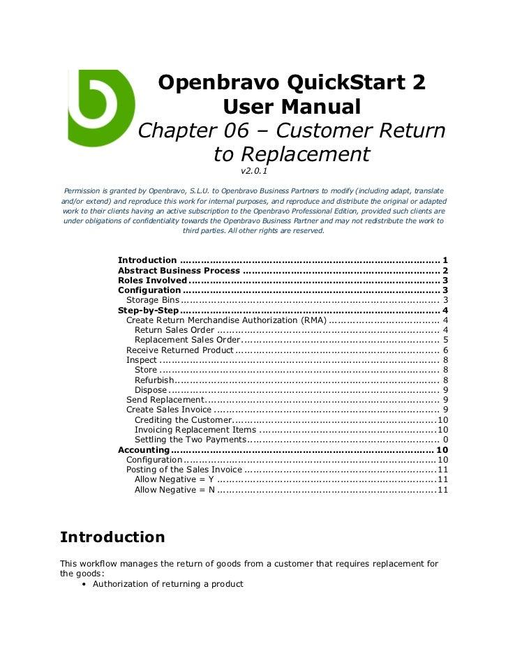 Openbravo QuickStart 2                               User Manual                       Chapter 06 – Customer Return       ...