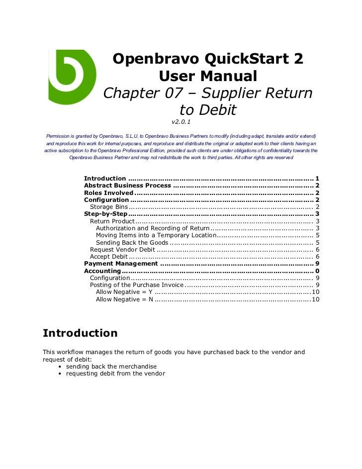 Openbravo QuickStart 2                                   User Manual                            Chapter 07 – Supplier Retu...