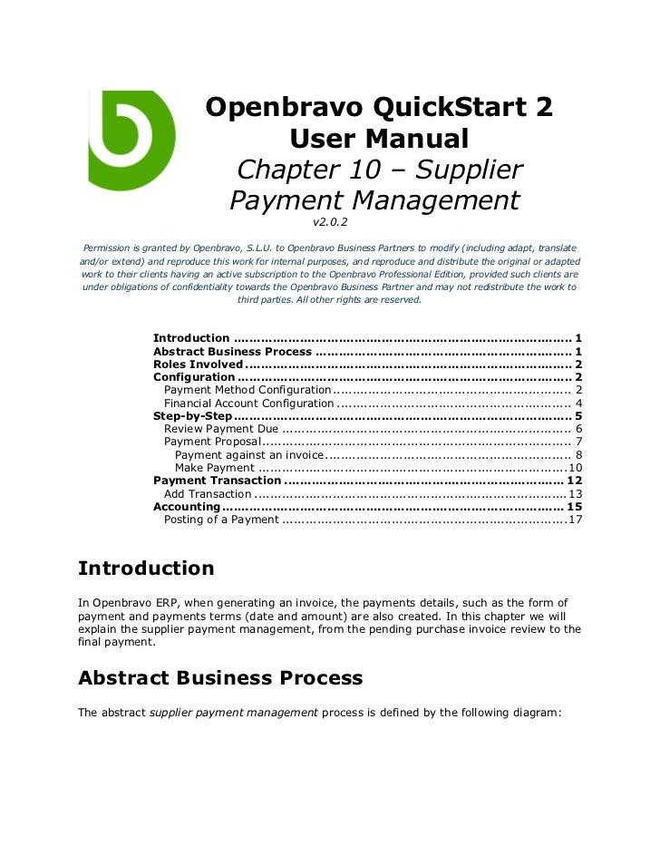 Openbravo QuickStart 2                                  User Manual                               Chapter 10 – Supplier   ...