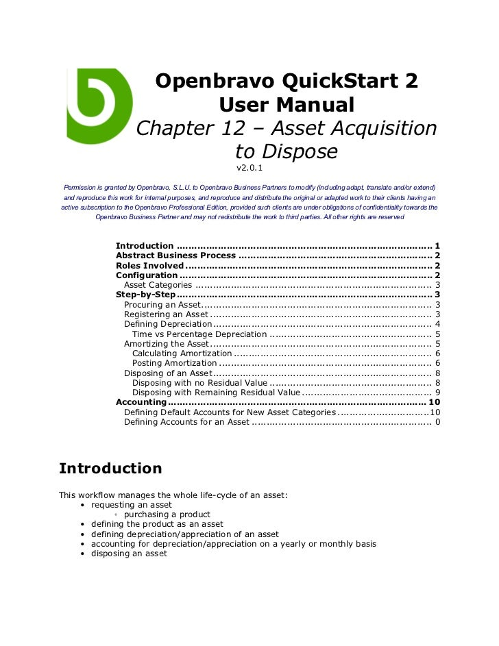 Openbravo QuickStart 2                                  User Manual                          Chapter 12 – Asset Acquisitio...