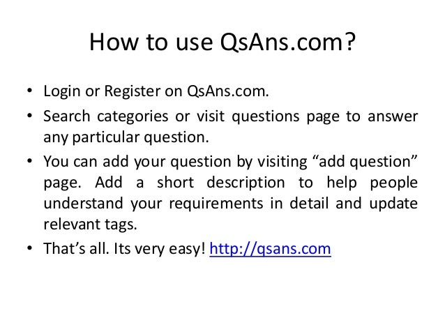 QsAns com Questions Answers Website
