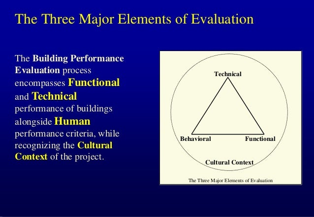 The Three Major Elements of Evaluation The Building Performance Evaluation process encompasses Functional and Technical pe...