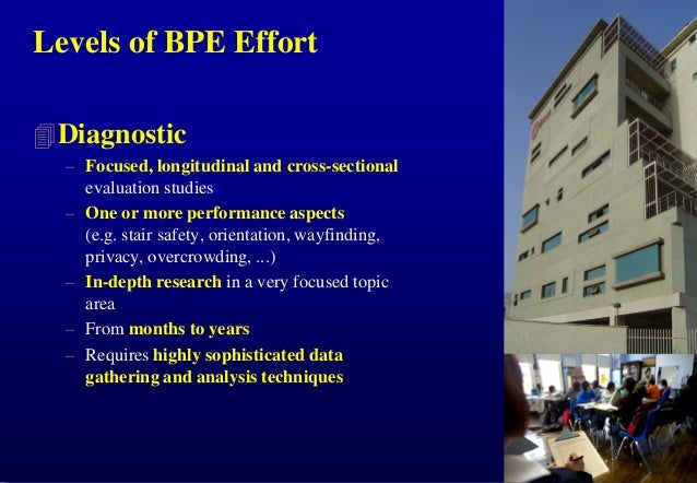 Levels of BPE Effort  Diagnostic – Focused, longitudinal and cross-sectional evaluation studies – One or more performance...