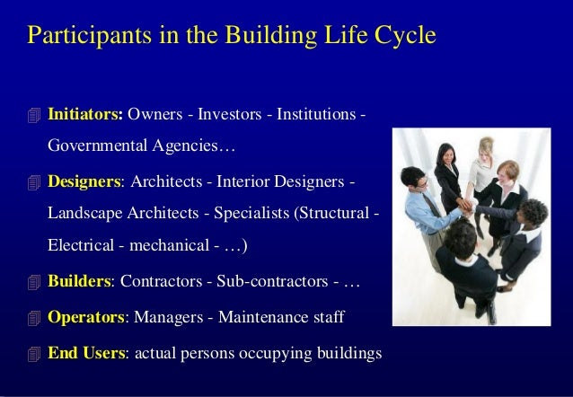 Participants in the Building Life Cycle  Initiators: Owners - Investors - Institutions -  Governmental Agencies…  Design...