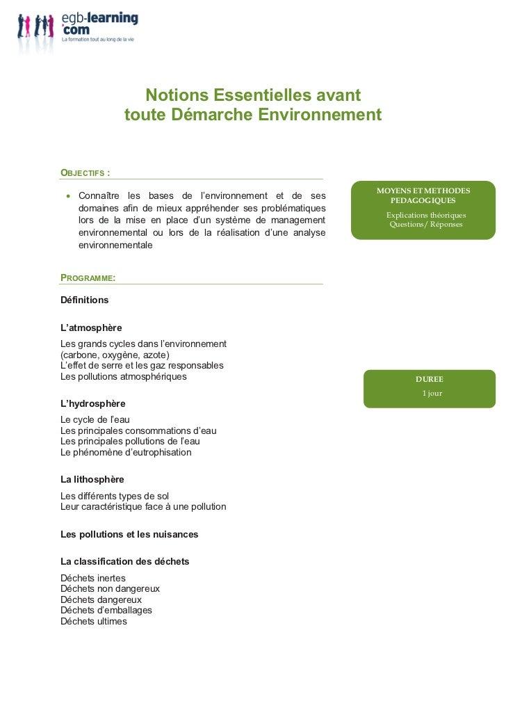 Notions Essentielles avant                 toute Démarche EnvironnementOBJECTIFS : • Connaître les bases de l'environnemen...