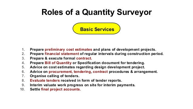 duty of quantity surveyor Preparations for executing the contract the quantity surveyor is regarded by the architect as the expert in matters relating to the interpretation and application of the contract conditions accordingly, it is not uncommon for the preparation for the signing of the contract to be the task of the quantity surveyor.