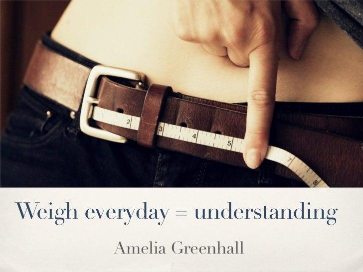 Weigh everyday = understanding         Amelia Greenhall