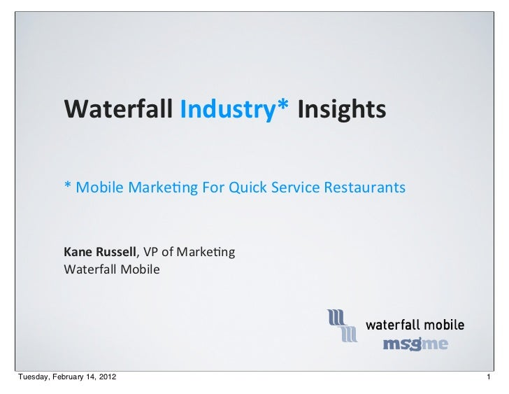 Waterfall Industry* Insights           * Mobile Marke,ng For Quick Service Restaurants           Kane Ru...