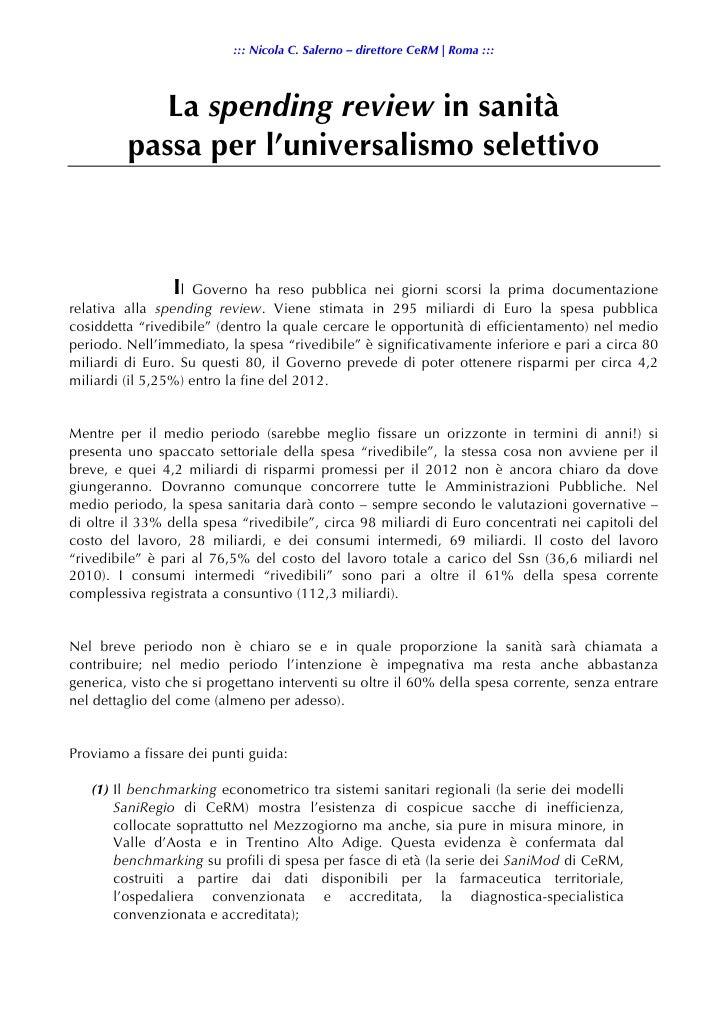 ::: Nicola C. Salerno – direttore CeRM | Roma :::            La spending review in sanità         passa per l'universalism...