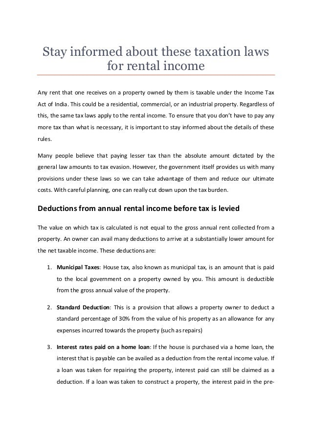 Stay Informed About These Taxation Laws For Rental Income