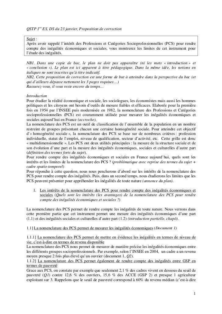 QSTP 1er ES, DS du 23 janvier, Proposition de correctionSujet :Après avoir rappelé l'intérêt des Professions et Catégories...