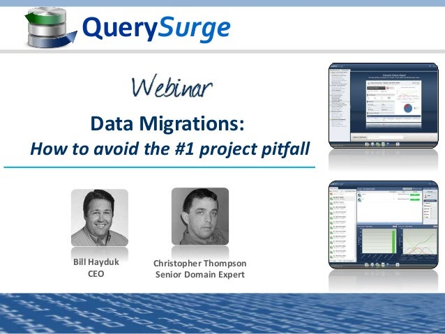 QuerySurge Bill Hayduk CEO Christopher Thompson Senior Domain Expert Data Migrations: How to avoid the #1 project pitfall