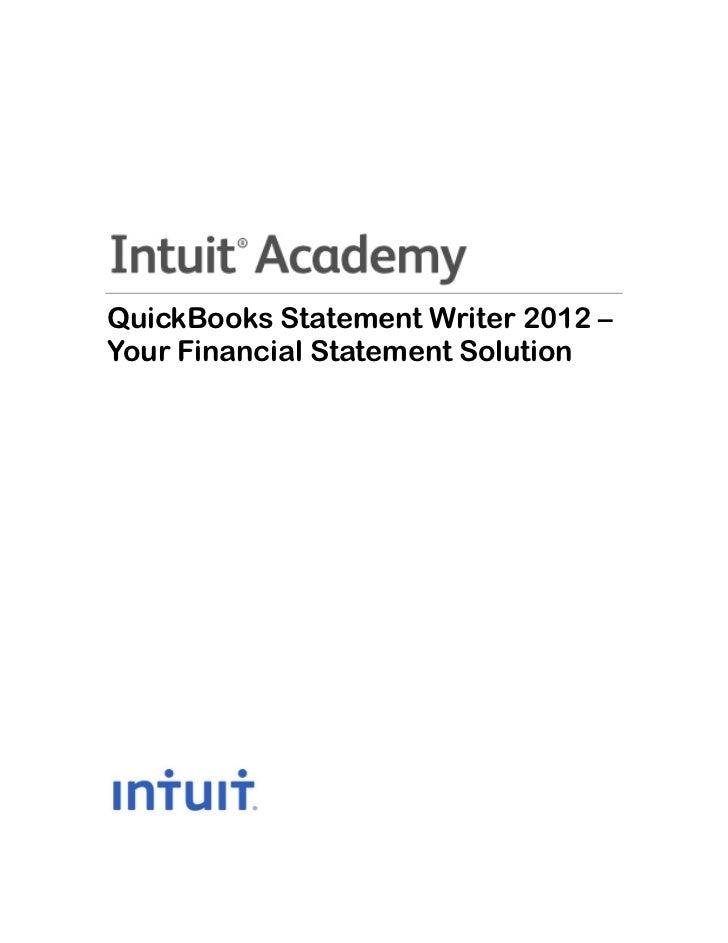 QuickBooks Statement Writer 2012 –Your Financial Statement Solution