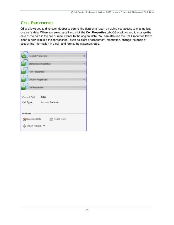 Quickbooks statement writer update