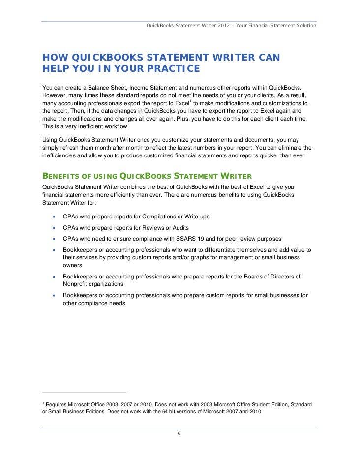 QuickBooks Statement Writer 2012