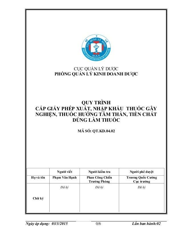 Cục Quản lý Dược QT.KD.04.02 Ngày áp dụng: 03/3/2015 0/6 Lần ban hành:02 CỤC QUẢN LÝ DƯỢC PHÒNG QUẢN LÝ KINH DOANH DƯỢC QU...