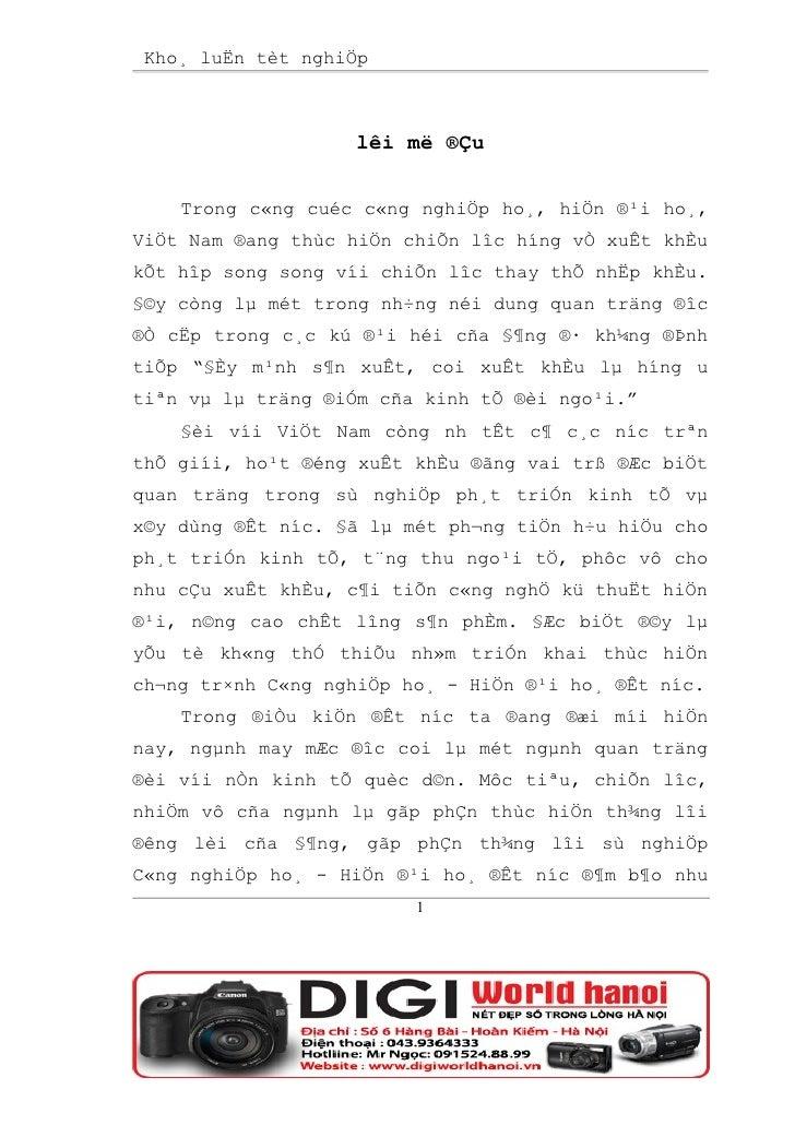 Kho¸ luËn tèt nghiÖp                       lêi më ®Çu       Trong c«ng cuéc c«ng nghiÖp ho¸, hiÖn ®¹i ho¸, ViÖt Nam ®ang t...