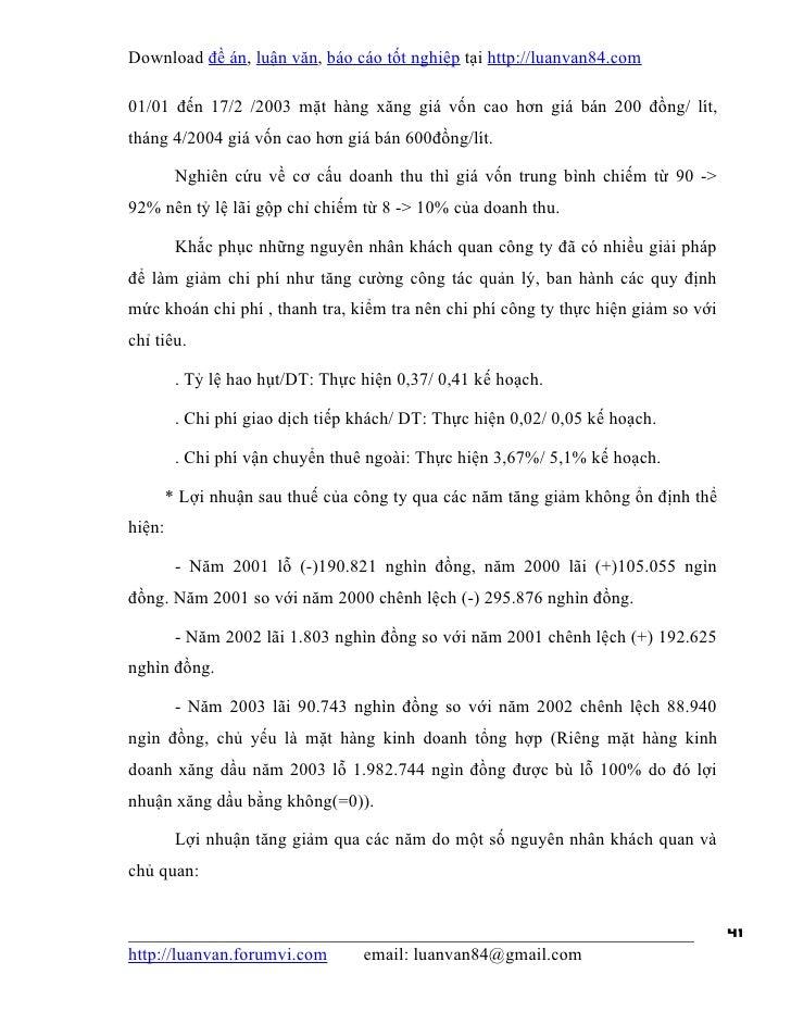 Download đề án, luận văn, báo cáo tốt nghiệp tại http://luanvan84.com01/01 đến 17/2 /2003 mặt hàng xăng giá vốn cao hơn gi...