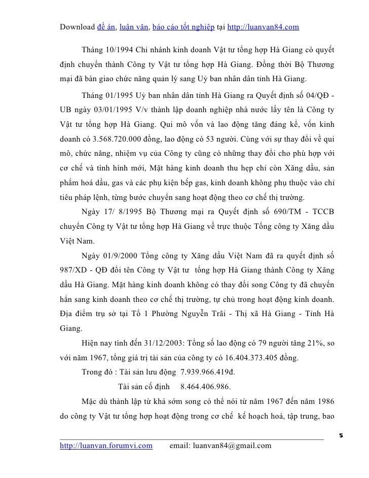 Download đề án, luận văn, báo cáo tốt nghiệp tại http://luanvan84.com      Tháng 10/1994 Chi nhánh kinh doanh Vật tư tổng ...